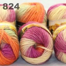 Sale LOT 6 Skeinsx50gr NEW Chunky Hand-woven Knitting Colors Scores Wool Yarn 24