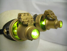 Pro Steampunk Goggles Cosplay SCI-FI Gamer Costume Top Hat LED Yellow lenses 20X