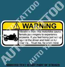 MOTORBIKE VIBRATIONS WARNING DECAL STICKER FUNNY DRIFT WARNING DECALS STICKERS
