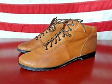 Vtg 90s Ankle Boots Lace Up Patty Womens 8 Tan Leather Festival Nerd Trail Boho