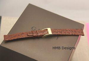 New Gucci 12 MM Brown Alligator Grain Genuine Leather Watch Band  (12.103)
