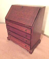 antique mini handmade wood brass drop slant front dresser desk salesman sample