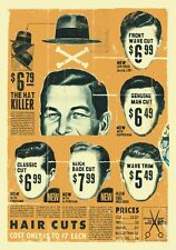 "TARGA VINTAGE ""1950 HAIR CUTS BARBER SHOP"" Pubblicità, ADVERTISING, POSTER,PLATE"