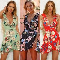Women Boho Floral Chiffon Summer Party Evening Beach Short Mini Dress Sundress z