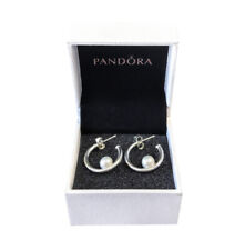 New 100% Authentic PANDORA 925 Silver White Cultured Pearl Hoop Earrings 297528P