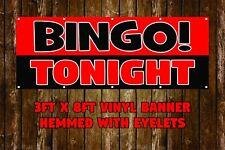 NEW BINGO TONIGHT VINYL BANNER 3' X 8' HEMMED WITH EYELETS BUSINESS STOREFRONT