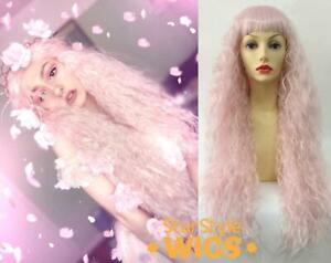 DELUXE LONG PASTEL PINK FAIRY UNICORN MERMAID CURLY CRIMPED COSPLAY COSTUME WIG