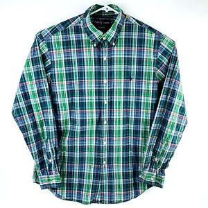 Polo Ralph Lauren Mens Large Green Blue Plaid Button Down Pony Shirt Custom Fit