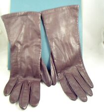"""Vintage Brown Ladies 10"""" Length Buttery Soft Lined Leather Gloves Size 7-France"""