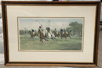 "George Wright Fine Art Print ""A Question Of Pace"" Framed Polo Match 32.5""x22.5"""