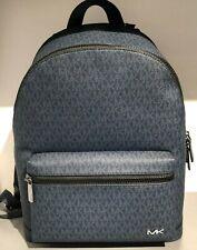 Michael Kors Mens Large XL Leather Travel Shoulder School Backpack Bag Blue New