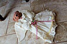 "Vintage Farmhouse Teddy Bear Angel Folk Art Plush Doll 13"" Handmade Craft"