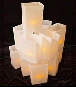 WHITE LUMINARY BOX  LIGHT SET W/ CANDLES - 1 SET - CHRISTMAS / WINTER HOLIDAY