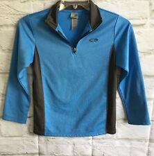 Champion Boys Shirt Size M 8-10 Pullover Long Sleeve Blue Gray Zip Neck C52