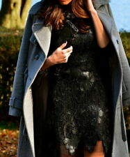 😊  ZARA WOMAN BLACK CROCHET LACE SHORT FAUX LEATHER PARTY DRESS SIZE S new
