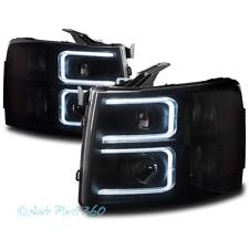 FOR 07-13 CHEVY SILVERADO 1500 2500 3500 HD LED PROJECTOR HEADLIGHTS BLACK/SMOKE