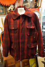 VINTAGE WOOLRICH RED BLACK PLAID WOOL HUNTING FIELD JACKET SIZE 44 PANTS 1950s d