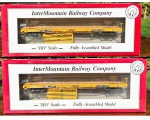 TWO HO Scale interMountain 60' Wood Deck Flat Cars Trailer Train OTTX NEW