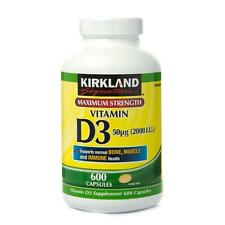 Nueva inyección de Kirkland Signature fuerza máxima, vitamina D3 Suplementos 600 Cápsulas