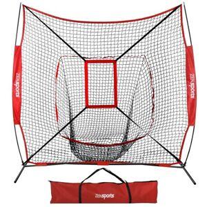 7x7 Ft Baseball Softball Teeball Practice Batting Training Net w/ Strike Zone