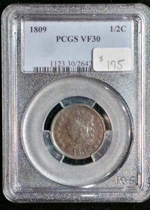 1809 Classic Half cent, PCGS VF30, dark brown & smooth!  Holder has scratches