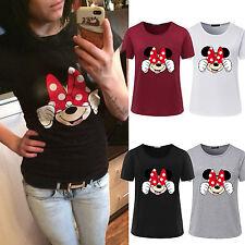 Women Girls Short Sleeve T-shirt Blouse Cute Cartoon Minnie Mouse Print Top Tee