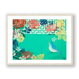 Bird and Flowers Framed Print , Animal Wall Art , Botanical Living Room Decor