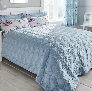 DUNELM HEAVENLY HUMMINGBIRD EMBROIDERED QUILTED DUCK EGG BEDSPREAD THROW LARGE