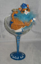 Long Island Iced Tabby Glass Removable Cat With Drink Feather Boa Resin Nwob