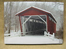 Covered Bridge Canvas Painting Snow Winter Trees Tilted View