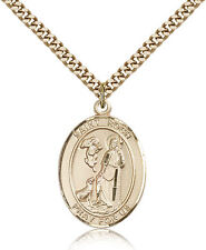 """Saint Roch Medal For Men - Gold Filled Necklace On 24"""" Chain - 30 Day Money B..."""