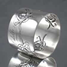 "Antique French Sterling Silver Art Nouveau Napkin Ring, ""Calla Lily"", Hallmark"