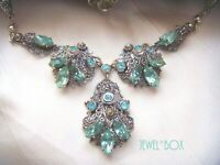 ANTIQUE ART DECO BOHEMIAN CZECH Filigree  AQUA CRYSTAL DROP Vintage NECKLACE