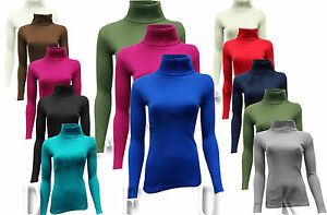WOMENS RIBBED POLO LONG SLEEVE  POLO ROLL NECK  TOP CASUAL JUMPERS SIZE 8 - 28