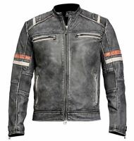 Men's Vintage Motorcycle Cafe Racer Biker Retro Moto Distressed Leather Jacket