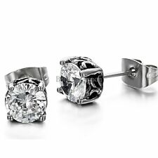 Round Cut 6mm Clear Cubic Zirconia CZ Stainless Steel Stud Earrings Pair Set