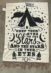 """POTTERY BARN TEEN Junk Gypsy 'Stars in Your Eyes' Wall Tapestry 46"""" x 36""""  NWT"""