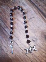 Wicca Goddess Dark Moon Prayer Blessed Rosary - Onyx Gemstones.
