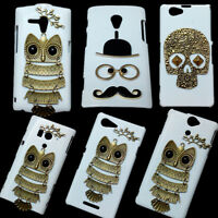 Hard Back Case For Sony, Cute Owl Mustache Beard Retro Skull Rivet Design Cover