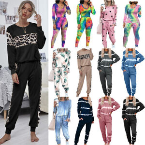 Women Long Sleeve Tops Tracksuit Pants Set Sports Loose Home Wear Outfits Suit