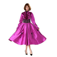 Sissy Lockable Purple Satin Ball Gown Medium Length Dress Cosplay Crossdress