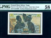 French West Africa/Togo:P-45,50 Francs,1956 * PMG Ch. AU 58 *