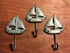 "Set of 3 Sailboat Hooks with Antique Green Patina heavy duty cast iron beach 5"""