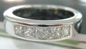 18ct White Gold 0.5ct H/VS1 DIAMOND princess CUT wedding BAND CERT included