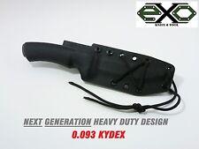 """HEAVY DUTY  0.093"""" Custom Kydex Sheath for Mora Bushcraft, BLACK"""