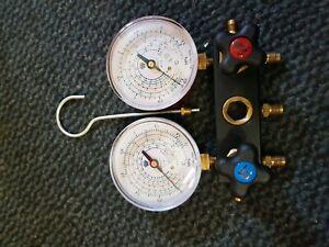 N012041 2 WAY-MANIFOLD PRESSURE GAUGE AC TOOLS R134a R404 R407 R22