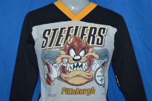 vintage 90s PITTSBURGH STEELERS TAZ TASMANIAN DEVIL SWEATSHIRT NFL YOUTH MED YM