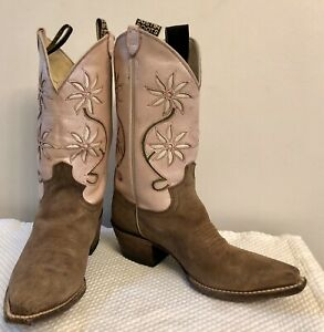 Vintage Justin Pink Leather Flower Cut Outs Cowboy Cowgirl Boots 8 70s 80s