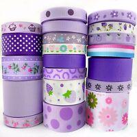 "20Yards Assorted Grosgrain Ribbon Lots 20 Styles 3/8""--1.5"" Purple Theme Craft-B"