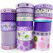 "20Yards Assorted Grosgrain Ribbon Lots 20 Styles 3/8""--1.5"" Purple Theme Craft-B"